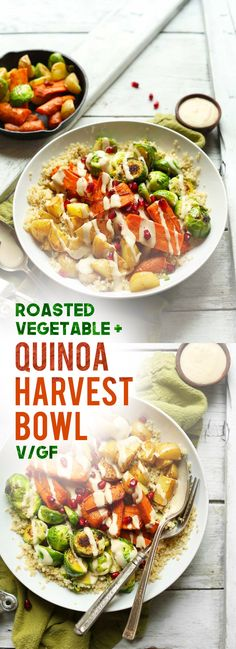 Hearty and flavorful harvest bowls with roasted vegetables, quinoa, and a creamy 3-ingredient tahini dressing! A healthy, plant-based, gluten-free meal!
