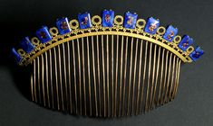A Lapis and gold French Empire comb from The Creative Museum.