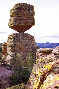 Balanced rock in Chiricahua National Monument, Arizona, is a unit of the National Park Service located in the Chiricahua Mountains. It is famous for its extensive vertical rock formations.
