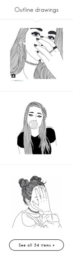 """""""Outline drawings"""" by happinesspeaceandlove ❤ liked on Polyvore featuring fillers, drawings, doodles, sketch, pictures, backgrounds, outlines, text, quotes and saying"""