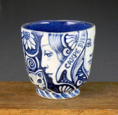 Blue and white porcelain tea bowl OOAK with birds by PSPorcelain