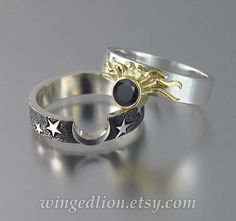 bands with engagement ring Sun and Moon ECLIPSE Engagement Ring and Wedding Band Set in & gold with Black Diamond Cute Jewelry, Jewelry Rings, Jewelry Accessories, Jewelry Design, Jewellery Box, Silver Jewelry, Accesorios Casual, Diamond Ring Settings, Wedding Band Sets