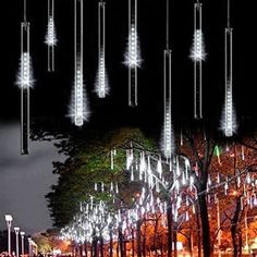 SurLight LED Falling Rain Lights with 8 Tube 144 LEDs, Meteor Shower Light, Falling Rain Drop Christmas Lights, Icicle String Lights for Holiday Party Wedding Christmas Tree Decoration (White) : Patio, Lawn & Garden