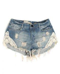 Rippled Washed Denim Shorts with Lace Splicing - Shorts - Clothing