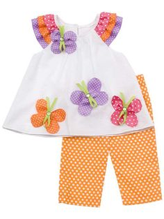 Rare Editions - Orange/ White Polka Dot Set With Butterfly Applique