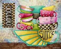 Art Print 'Coffee Sunrise Candy Colored' by studiopetite on Etsy.