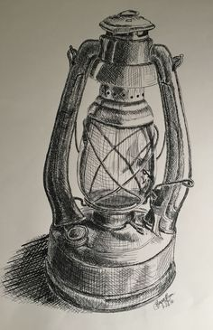Kami: This oil lamp is very well drawn in my opinion. I find it amazing how well they can draw glass using only a pen. Still Life Sketch, Still Life Drawing, Ink Pen Drawings, Drawing Sketches, Sketching, Observational Drawing, Pencil Shading, Object Drawing, Pen Sketch