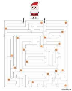Maze with a christmas theme (free printable) Christmas Maze, Mary Christmas, Christmas Puzzle, Christmas Hacks, Christmas Colors, Christmas Themes, Christmas Crafts, Educational Activities For Kids, Christmas Activities