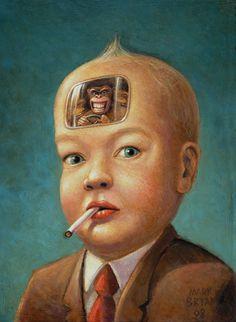 My new favorite painting.  archiemcphee:    Monkeys in my Head byMark Bryan  Oil in panel, 2008