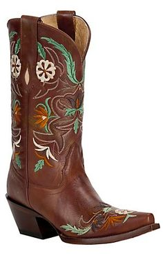 Tony Lama® Vaquero™ Ladies Cinnamon Flower Garden Embroidered Snip Toe Western Boot   Cavender's Boot City