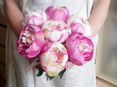 Silk and satin flowers peonies wedding bouquet by MKedraWedding