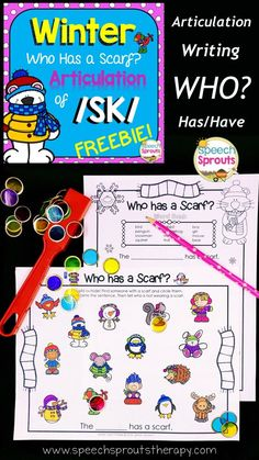 FREE Winter speech and language activity. Practice articulation of the tricky/sk/ blend and who has? questions. Pair the mat with the writing page for a winter writing center too. BW version included. by Speech Sprouts