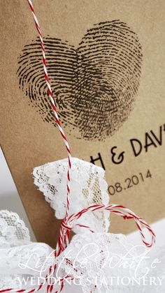 SAMPLE Handmade Fingerprint Heart Wedding Invitation Rustic Vintage Brown Kraft