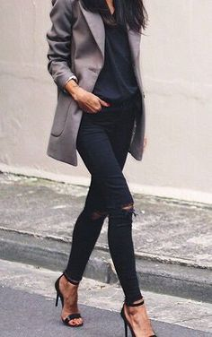 #street #style / gray coat + all black