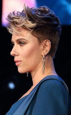 Scarlett Johansson, cropped hair, March 2017