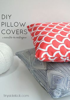 How to Make an Envelope Pillow Cover- Such an easy way to add a pop of color and freshen up your space and this is the easiest tutorial ever!  Even for the total beginner!