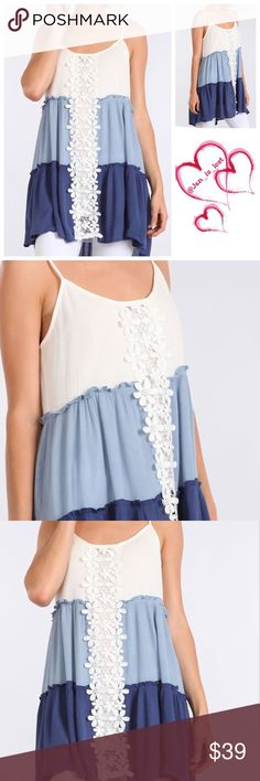 Coming Soon! Crochet Top Solid, waist length sleeveless top in a relaxed style with adjustable spaghetti straps, a scoop neck and crochet/pleated detailing. Fabric Content: 100% RAYON Tops