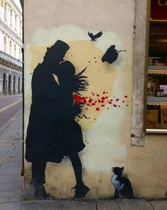 This wonderfully romantic portrait mural of a couple in silhouette form, essentially sweeping each other off their feet, was found in Padua, Italy. Art by Padua Italy, Italy Street, Italy Painting, Italy Art, Stencil Art, Travel Scrapbook, Culinary Arts, Types Of Food, Urban Art