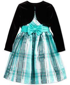Bonnie Jean Little Girls' 2-Piece Bolero & Plaid Dress Set