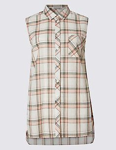 Pure Cotton Loose Fit Checked Shell Top