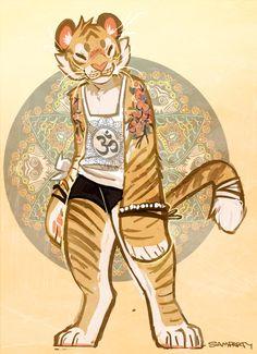 e621 bandage clothing feline female fur mammal muttmonster orange_fur shirt shorts solo stripes tan_fur tank_top tattoo tiger whiskers wristband