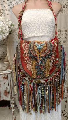 Handmade Vintage Tapestry Fringe Carpet Bag Gypsy Boho Hippie Hobo Purse tmyers #Handmade #ShoulderBag