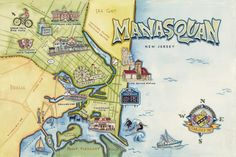Image of Manasquan, NJ Illustrated Map Print Sea Girt, Point Pleasant Beach, Pictorial Maps, Travel Maps, Paper Goods, Hand Lettering, Invitations, Invite, How To Draw Hands