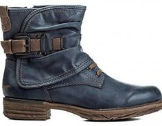 Mustang Shoes Damen Schuhe Stiefelette Boots dunkelblau Gr. 40