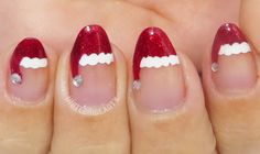 12 Days of Christmas Holiday Manicure Series Day 1 - Red Glittery Santa Hat Tips