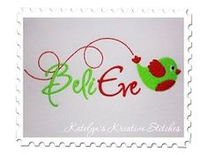 Believe Bird Text - 3 Sizes!   Christmas   Machine Embroidery Designs   SWAKembroidery.com Katelyn's Kreative Stitches