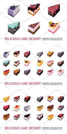 36 isometric cake dessert icon set