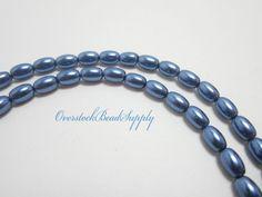 SALE Slate Blue Rice Glass Pearls 66 Beads by OverstockBeadSupply, $2.60