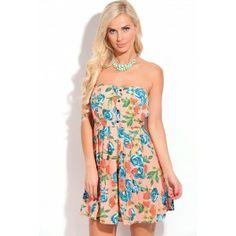 9f04cea6cc Peach blue Floral Print Strapless Skater Dress Cute Skater Dresses