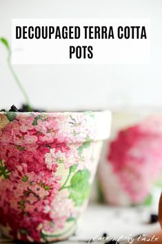 Tips For Just A Second Wedding Ceremony Anniversary Reward Love To Plant Flowers Or Vegetables But Hate The Way Regular Planters Look? Have a go at Decoupaging Your Flower Pots For A Super Cute Look Clay Pot Crafts, Diy Home Crafts, Garden Crafts, Diy Craft Projects, Crafts To Make, Craft Tutorials, Painted Clay Pots, Painted Flower Pots, Mod Podge Crafts