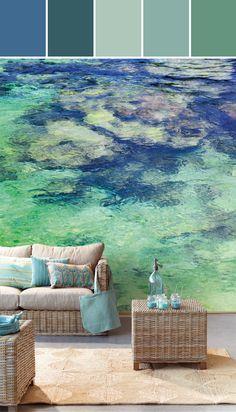El Aqua Aqua Tropical Moire Sea  Designed By Brewster Home Fashions via Stylyze  #colourpalettesilove