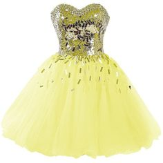 Dressystar 2015 Sweetheart Party Ball Gowns Sparkling Short Homecoming... (435 BRL) ❤ liked on Polyvore featuring dresses, short prom dresses, women dresses, homecoming dresses, yellow party dress and sparkly dresses