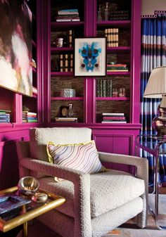 Interesting Simple and Modern Home Library Design: Mesmerizing Modern Home Library Decorate Your Space Room Bookcase With Vibrant Purple Hues Great Simple And Unique Design Ideas Feats Comfortable White Hand Chair ~ wiligear.com Home Office Design Inspiration