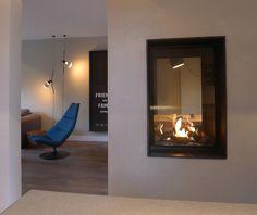 Ontwerp: Indelingsplan, keuken, haard, Sittard Open Fireplace, Fireplace Design, Style At Home, Diy Room Divider, Home Living Room, Interior Inspiration, New Homes, House Design, Interior Design