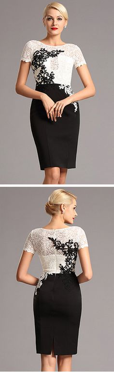 Short Sleeves Lace Applique Knee Length Cocktail Dress