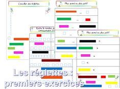 Les réglettes premiers exercices d'initiation - dys é moi Zazou et Madel Fractions, Education Positive, Fun Math, Primary School, Grade 1, Bar Chart, Activities, Learning, Initiation