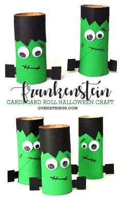 Cardboard Roll Frankenstein Halloween Craft