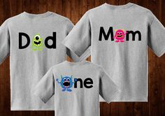 One Shirt - Family shirts - Monster theme - for birthday party - Monster Birthday - Set of Shirts for Kids, Babies, and Adults - Custom by BurnsBeauties on Etsy https://www.etsy.com/listing/518319808/one-shirt-family-shirts-monster-theme