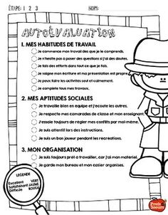 Free French Self Evaluation printables for students. Classroom Tools, Classroom Activities, Classroom Management, French Teaching Resources, Teaching French, I Love School, Too Cool For School, Goal Setting For Students, Student Self Assessment