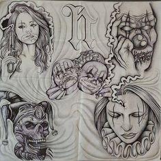 Chicano Drawings, Chicano Art, Art Drawings Sketches, Tattoo Sketches, Cool Drawings, Sketch Tattoo Design, Skull Tattoo Design, Tattoo Lettering Fonts, Graffiti Lettering