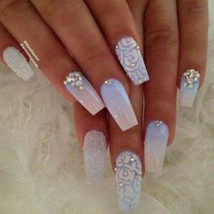 Our favorite nail designs, tips and inspiration for women of every age! Great gallery of unique nail art designs of 2017 for any season and reason. Find the newest nail art designs, trends & nail colors below. Cute Acrylic Nail Designs, Red Nail Designs, Simple Nail Art Designs, Cute Acrylic Nails, Easy Nail Art, Cute Nails, Winter Acrylic Nails, Diamond Nail Art, Diamond Nail Designs