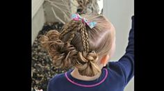 Fanned Braids and Easy Messy Buns Simply cute and takes about minutes to do For a full tutorial on how to part the hair out tips on the messy buns and Easy Toddler Hairstyles, Little Girl Hairstyles, Twist Hairstyles, Baby Hair Dos, Easy Messy Bun, Rope Twist, Hair Bows, Braids, Dreadlocks