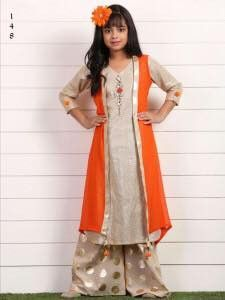 Orange Color Georgette Fabric Readymade Kids Girl Lehenga Choli.