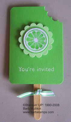 stampin up tart and tangy - cute invite. that stamp could be lemon, lime or orange
