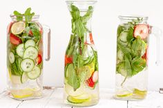Strawberry, lime, cucumber and mint water is just the drink you need on a hot summer day. Takes no effort to make and quenches your thirst fast!