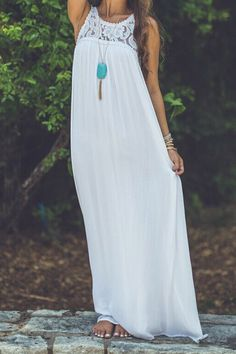Floral Pattern Lace Splicing Sleeveless Maxi Dress